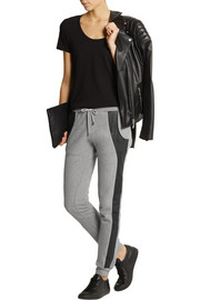 Leather-trimmed cotton-jersey track pants