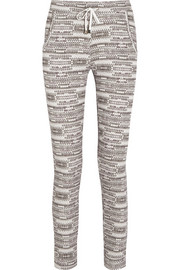 Printed cotton-jersey track pants