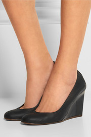 Leather wedge pumps