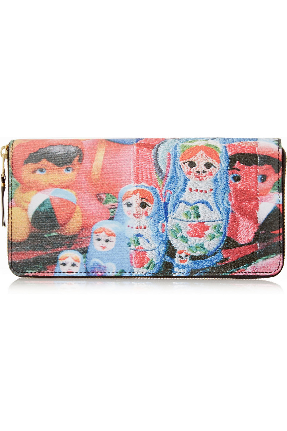 Printed Leather Continental Wallet, Comme Des Garçons, Blue/Red, Women's