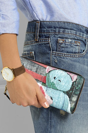 Printed leather continental wallet