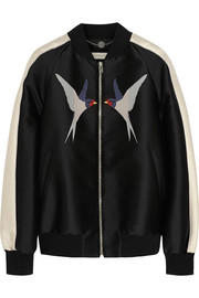 Stella McCartney Lorinda appliquéd woven satin bomber jacket