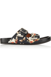 Leather sandals in magnolia print