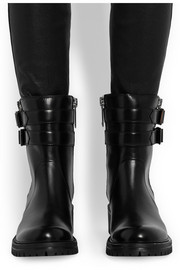 Buckled leather biker boots