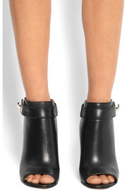 Shark Lock cutout ankle boots in black leather