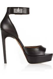 Shark Lock platform sandals in black leather