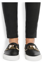 Slip-on sneakers in studded black leather