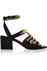 Sandals in studded black leather