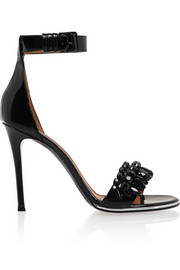 Monia patent-leather sandals with crystals