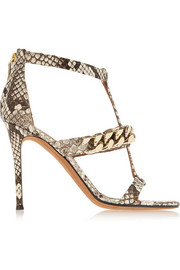 Python sandals with gold chain
