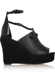 Embellished espadrille wedge sandals in black leather