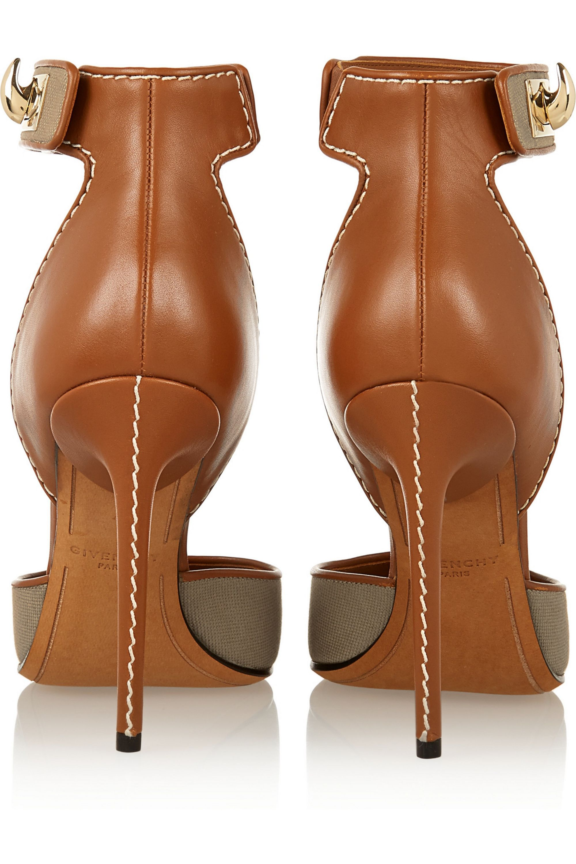 Givenchy Shark Lock sandals in brown leather and canvas