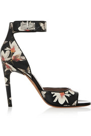 Shark Lock sandals in magnolia-print leather