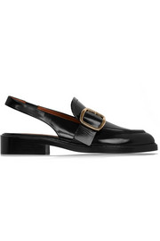 Slingback loafers in black leather