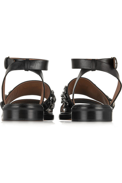 Givenchy chain trimmed leather sandals net a porter com for Givenchy teint miroir lift comfort