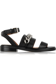 Chain-trimmed leather sandals