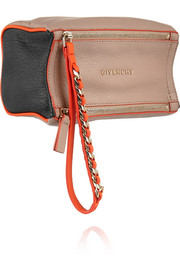 Small Pandora wristlet bag in tri-tone textured-leather