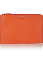 Givenchy Medium Antigona pouch in bright-orange grained-leather