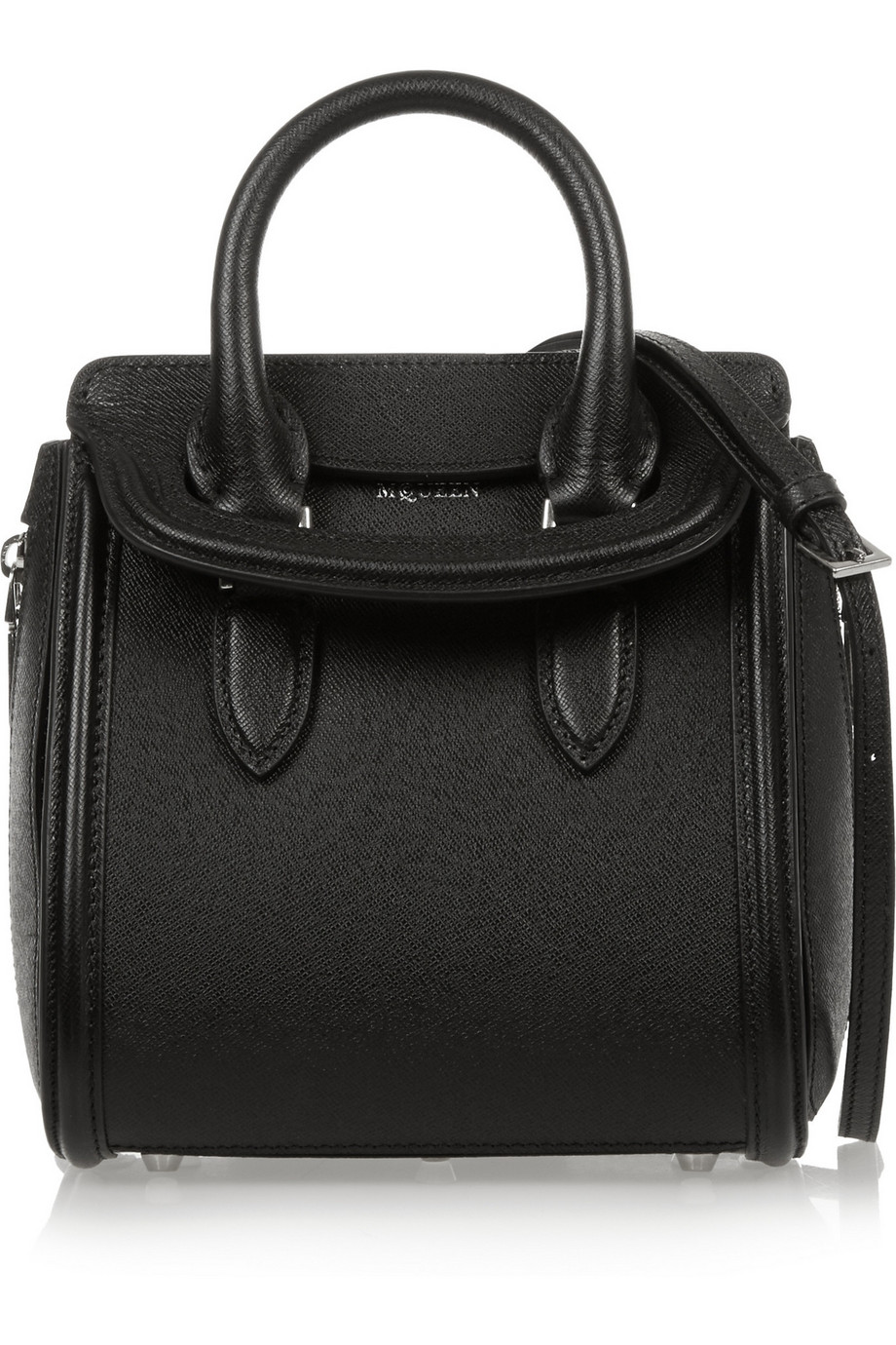Alexander Mcqueen The Heroine Mini Textured-Leather Shoulder Bag, Black, Women's, Size: One Size