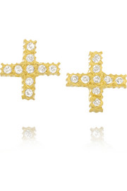 Yossi Harari Positive 18-karat gold diamond earrings