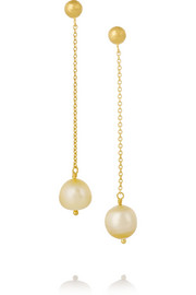 Yossi Harari 18-karat gold pearl earrings