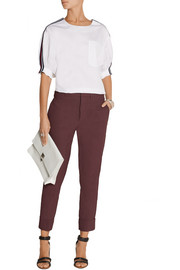 Cropped stretch linen-blend pants