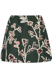Floral-print cotton and silk-blend mini skirt