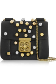 Elsie small embellished textured-leather shoulder bag