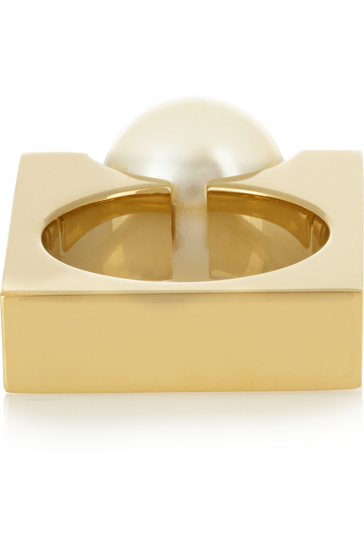 Chloé Darcey gold-tone Swarovski pearl ring