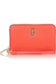 Tory Burch Robinson textured-leather wristlet clutch