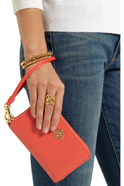 Robinson textured-leather wristlet clutch