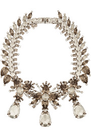 Givenchy Palladium-tone, crystal and faux pearl necklace