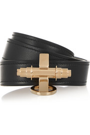 Obsedia bracelet in black leather and gold-tone
