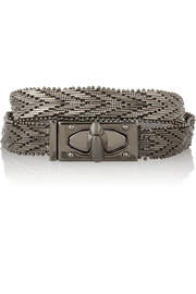 Givenchy Shark Lock ruthenium-tone wrap bracelet