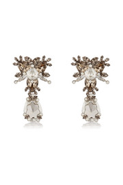 Drop earrings in palladium-tone brass, Swarovski crystal and pearl