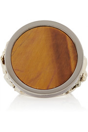 Givenchy Chevalière ring in palladium-tone and ruthenium-tone brass, tiger's eye and pyrite