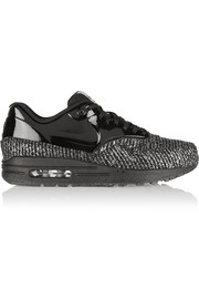 Nike Air Max 1 metallic bouclé and patent-leather sneakers