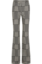 Prince of Wales check jacquard bootcut pants