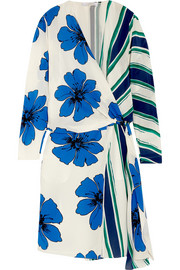 Chloé Printed silk crepe de chine wrap dress