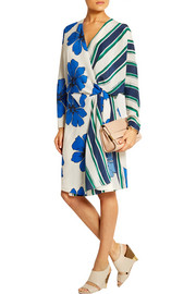 Printed silk crepe de chine wrap dress