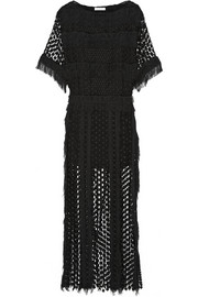 Chloé Fringed cotton-blend lace maxi dress