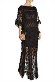 Fringed cotton-blend lace maxi dress