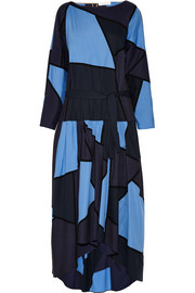 Patchwork cotton and stretch wool-blend dress