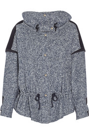 Fleece-paneled cotton-blend tweed jacket