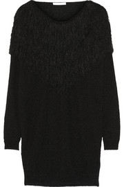 Oversized fringed silk-blend sweater