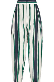 Cropped striped silk-crepe tapered pants