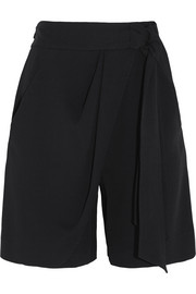 Draped wrap-effect stretch-crepe shorts