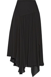 Asymmetric silk-blend georgette midi skirt