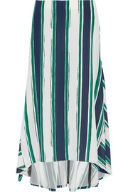 Asymmetric striped silk midi skirt