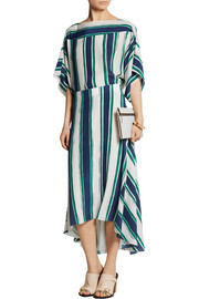 Chloé Asymmetric striped silk midi skirt